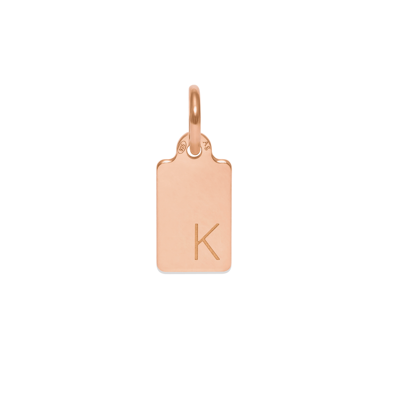 Make A Wish Letter K Tag Anhänger Jewelry luisa-lion 925 Silver Rose Gold Plated