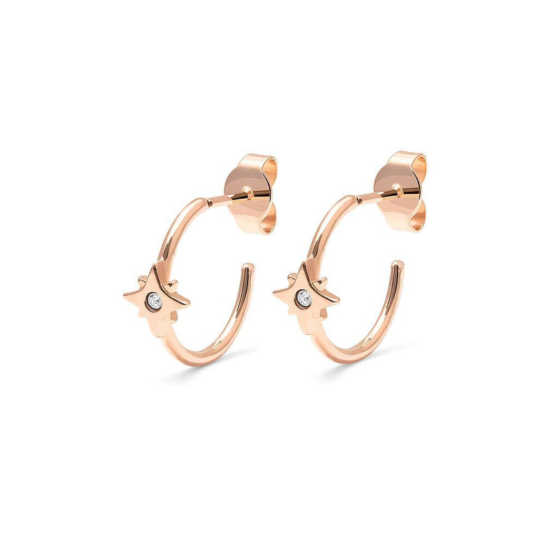 Make a Wish Starry Ear Hoops Jewelry luisa-lion 925 Silver Rose Gold Plated