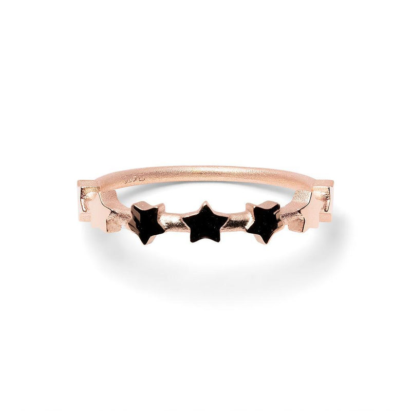 Make a Wish Starry Ring Jewelry luisa-lion 925 Silver Rose Gold Plated L - 60 (19.1mm)