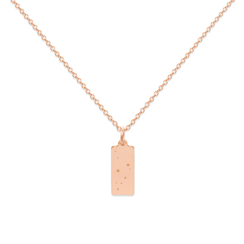 Make A Wish Steinbock Constellation Tag Kette Jewelry luisa-lion 925 Silver Rose Gold Plated S (45cm)