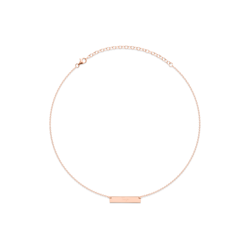 Memory Letters Bar Choker Jewelry frau-hoelle 925 Silver Rose Gold Plated