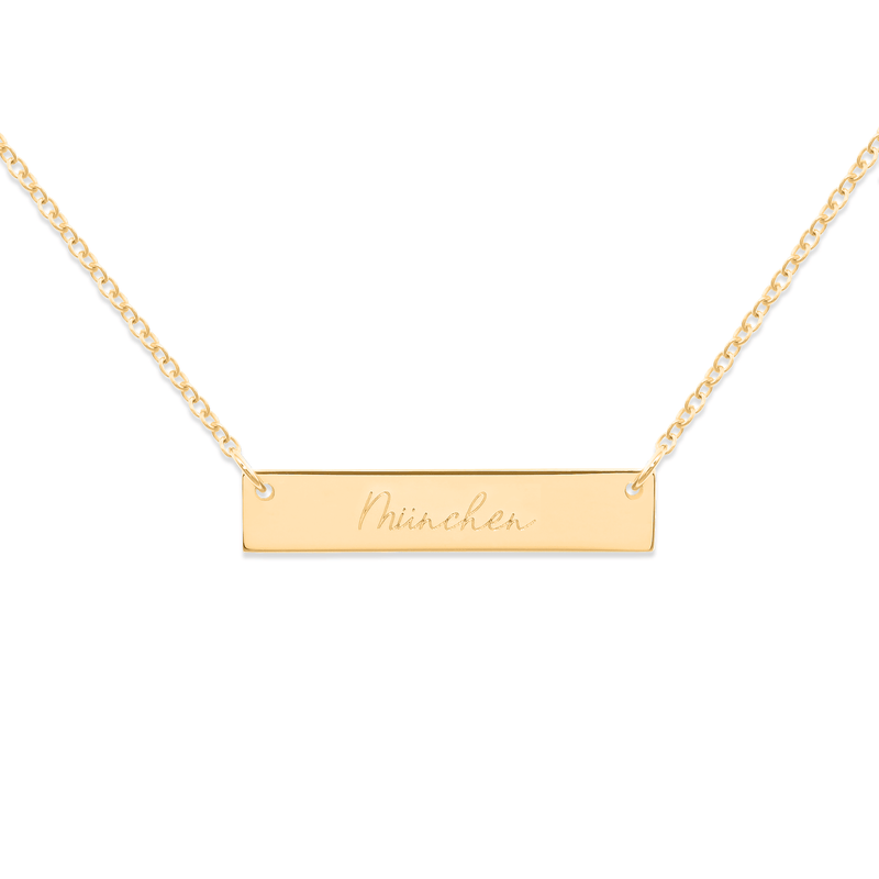 Memory Letters Bar Kette Jewelry frau-hoelle 925 Silver Gold Plated S (45cm)
