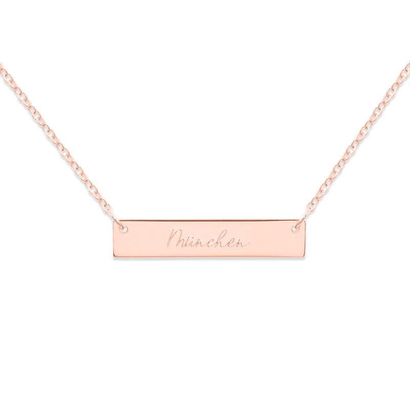 Memory Letters Bar Kette Jewelry frau-hoelle 925 Silver Rose Gold Plated S (45cm)