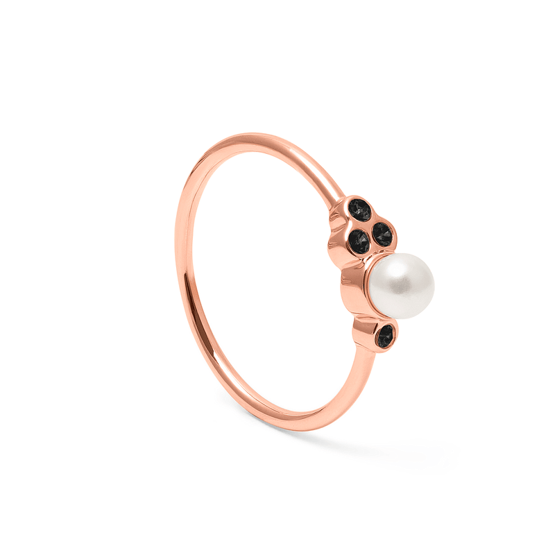 Mother of Pearl Ring Jet Jewelry anna-frost 925 Silver Rose Gold Plated S - 52 (16.6mm)