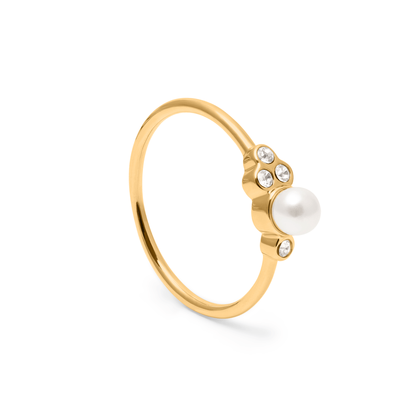 Mother of Pearl Ring Kristall Jewelry anna-frost 925 Silver Gold Plated XS - 49 (15.6mm)