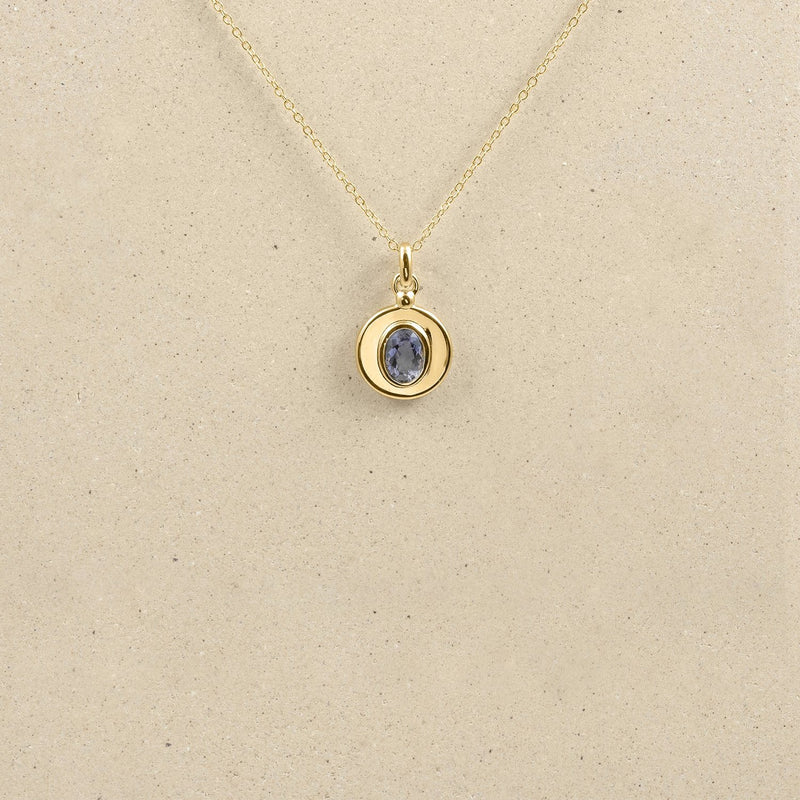 One Gem Necklace 14k Massivgold Jewelry stilnest 14k Massivgold Iolith 45cm