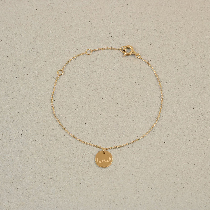 Petite Boobs Symbol Bracelet Jewelry Stilnest 24ct Gold Vermeil 19cm