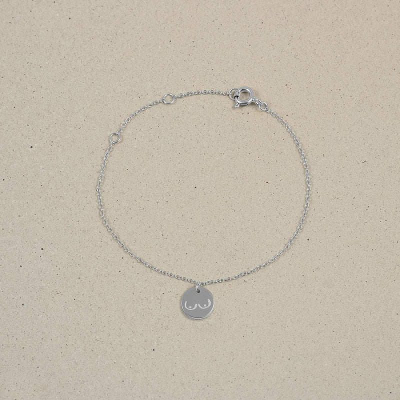 Petite Boobs Symbol Bracelet Jewelry Stilnest 925 Silver 19cm