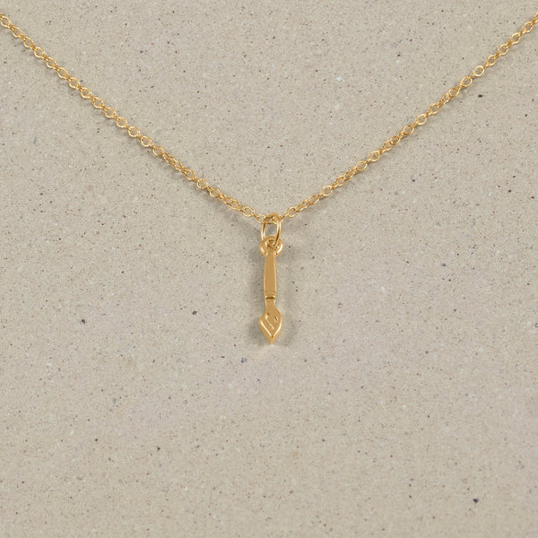 Petite Brush Charm Necklace Jewelry Stilnest 24ct Gold Vermeil Anchor Chain/Ankerkette S (45cm)