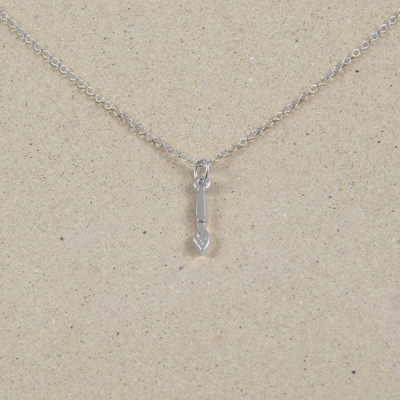 Petite Brush Charm Necklace Jewelry Stilnest 925 Silver Anchor Chain/Ankerkette S (45cm)
