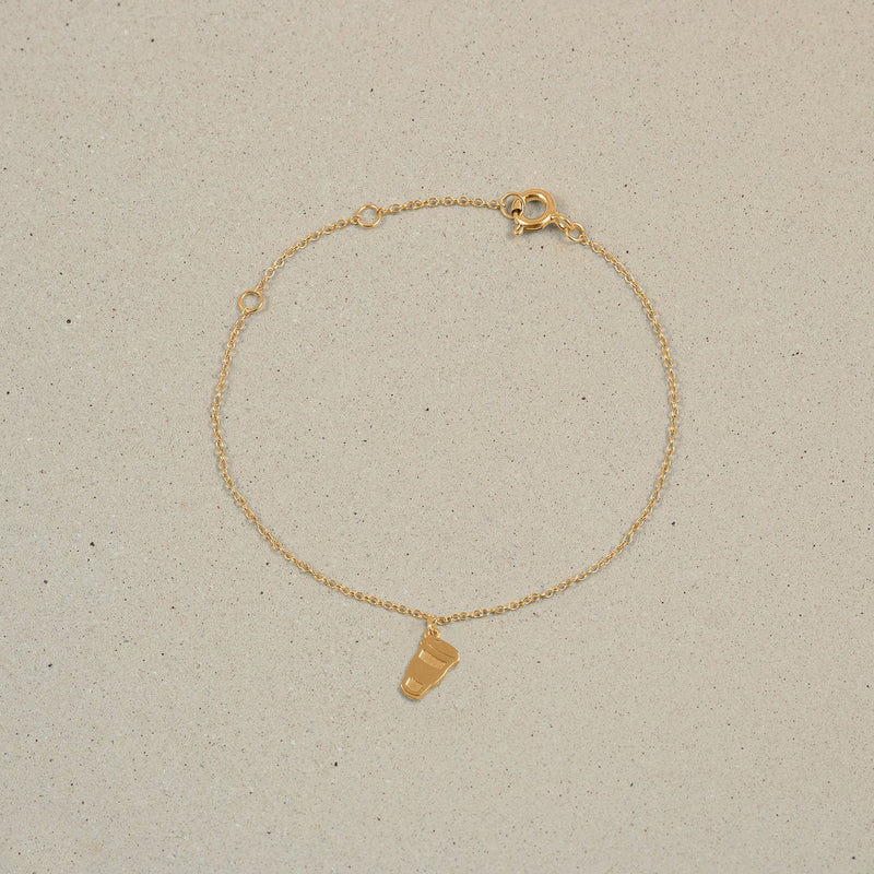 Petite Coffee Charm Bracelet Jewelry Stilnest 24ct Gold Vermeil 19cm