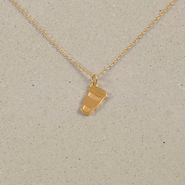 Petite Coffee Charm Necklace Jewelry Stilnest 24ct Gold Vermeil Anchor Chain/Ankerkette S (45cm)
