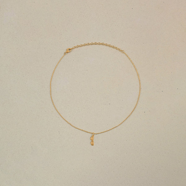 Petite Glasses Charm Choker Jewelry Stilnest 24ct Gold Vermeil Anchor Chain/Ankerkette 32+8cm