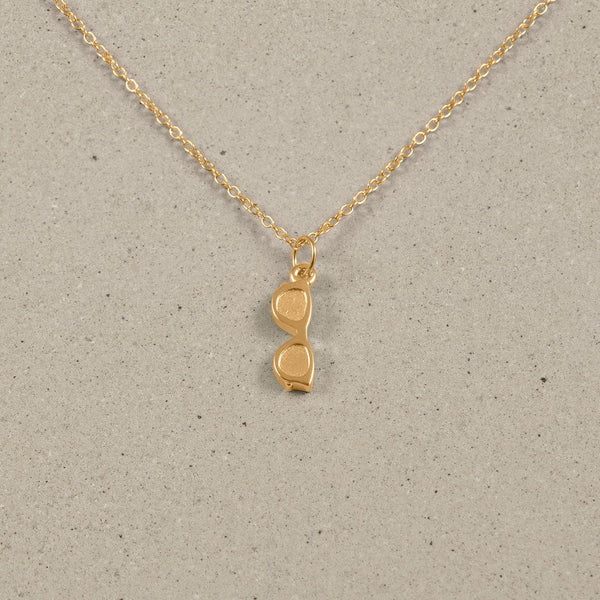 Petite Glasses Charm Necklace Jewelry Stilnest 24ct Gold Vermeil Anchor Chain/Ankerkette S (45cm)