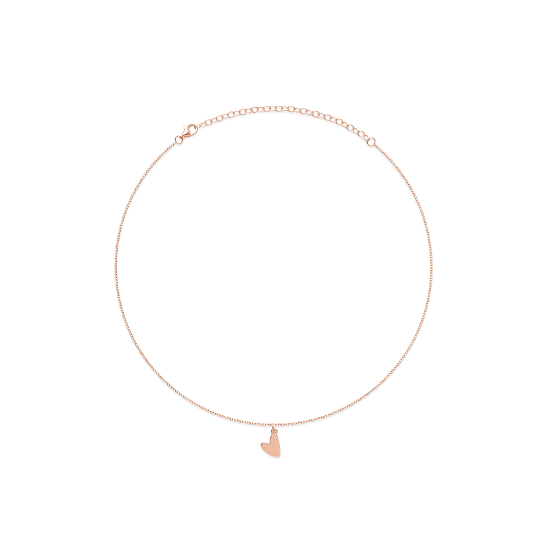 Petite Heart Charm Choker Jewelry frau-hoelle 925 Silver Rose Gold Plated