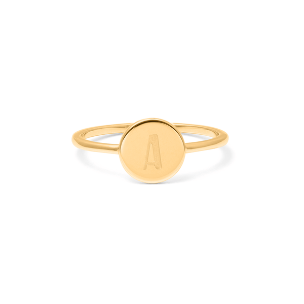 Petite Letter A Ring Jewelry frau-hoelle 925 Silver Gold Plated L - 60 (19.1mm)