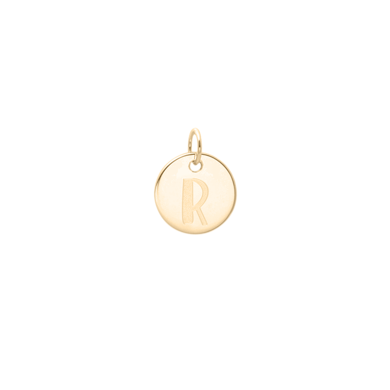Petite Letter A-Z Anhänger - Solid Gold Jewelry frau-hoelle 14ct solid Gold R