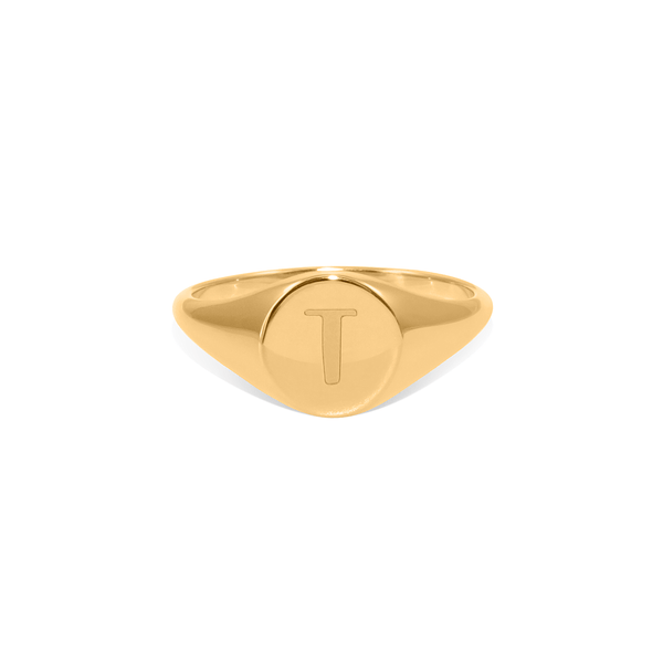 Petite Letter A - Z Signet Ring Jewelry frau-hoelle 925 Silver Gold Plated XXS - 44 (14.01mm)