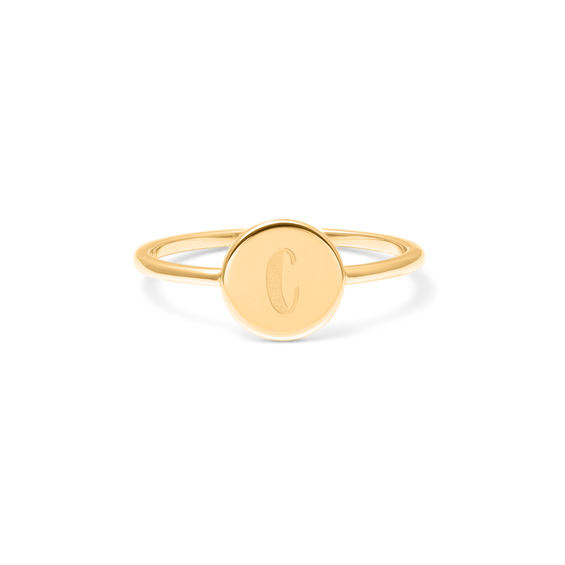 Petite Letter C Ring Jewelry frau-hoelle 925 Silver Gold Plated L - 60 (19.1mm)