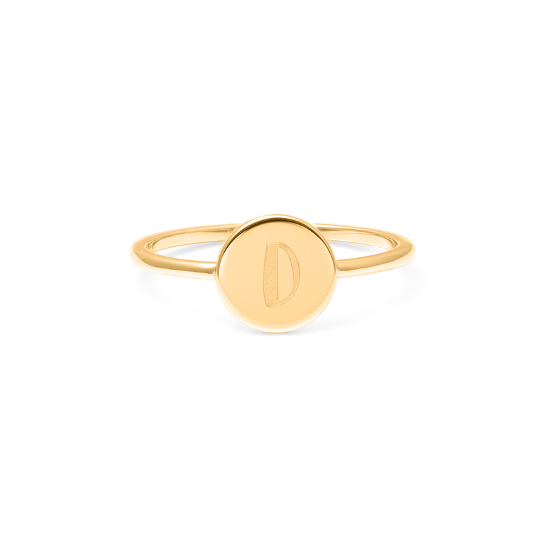 Petite Letter D Ring Jewelry frau-hoelle 925 Silver Gold Plated L - 60 (19.1mm)