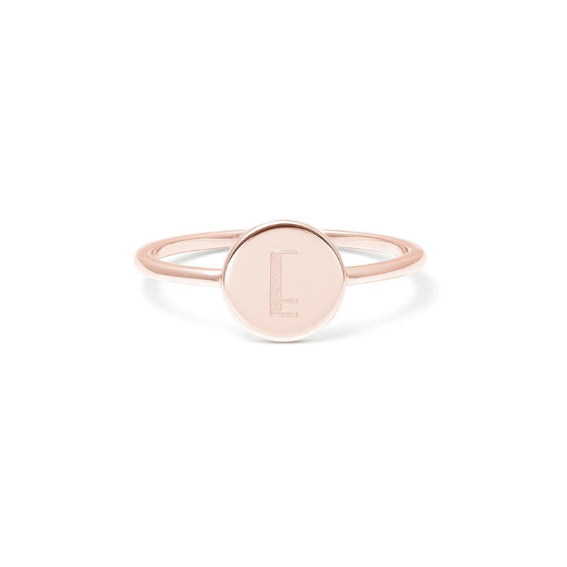 Petite Letter E Ring Jewelry frau-hoelle 925 Silver Rose Gold Plated L - 60 (19.1mm)