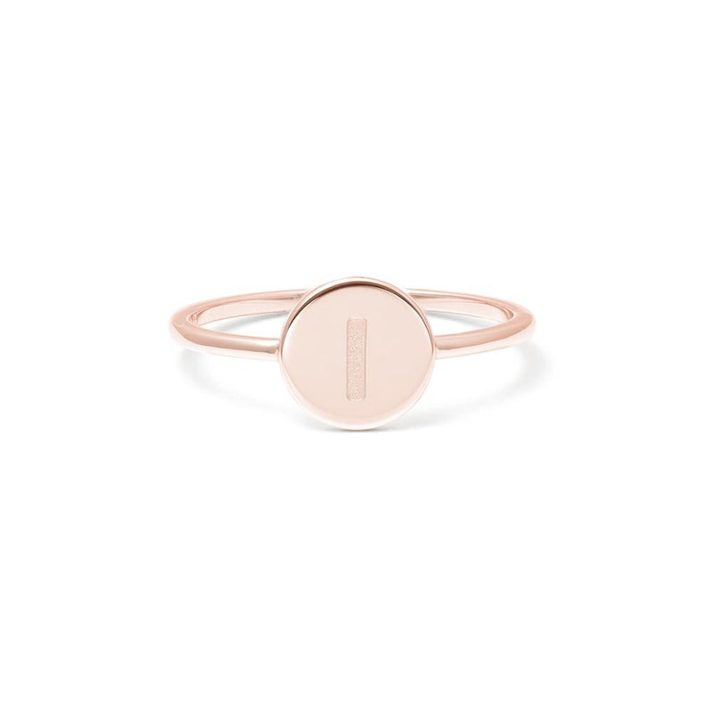 Petite Letter I Ring Jewelry frau-hoelle 925 Silver Rose Gold Plated L - 60 (19.1mm)