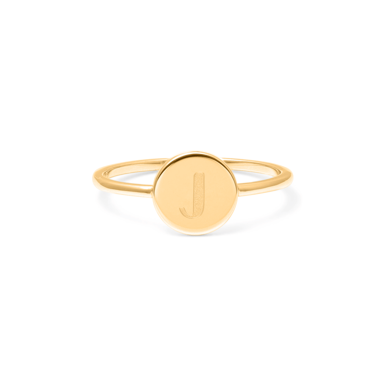 Petite Letter J Ring Jewelry frau-hoelle 925 Silver Gold Plated L - 60 (19.1mm)