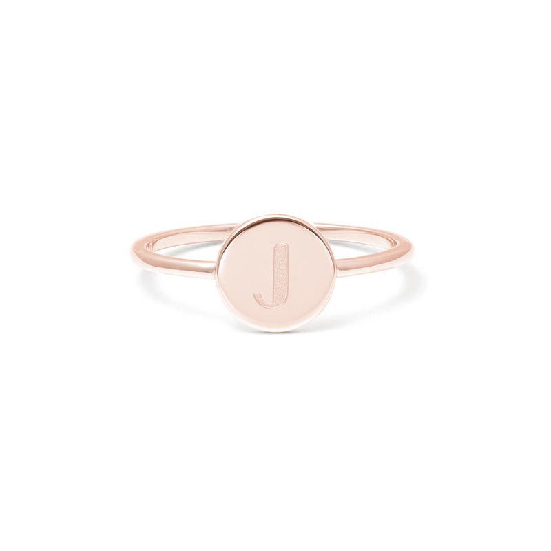 Petite Letter J Ring Jewelry frau-hoelle 925 Silver Rose Gold Plated L - 60 (19.1mm)