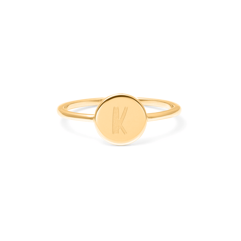 Petite Letter K Ring Jewelry frau-hoelle 925 Silver Gold Plated L - 60 (19.1mm)