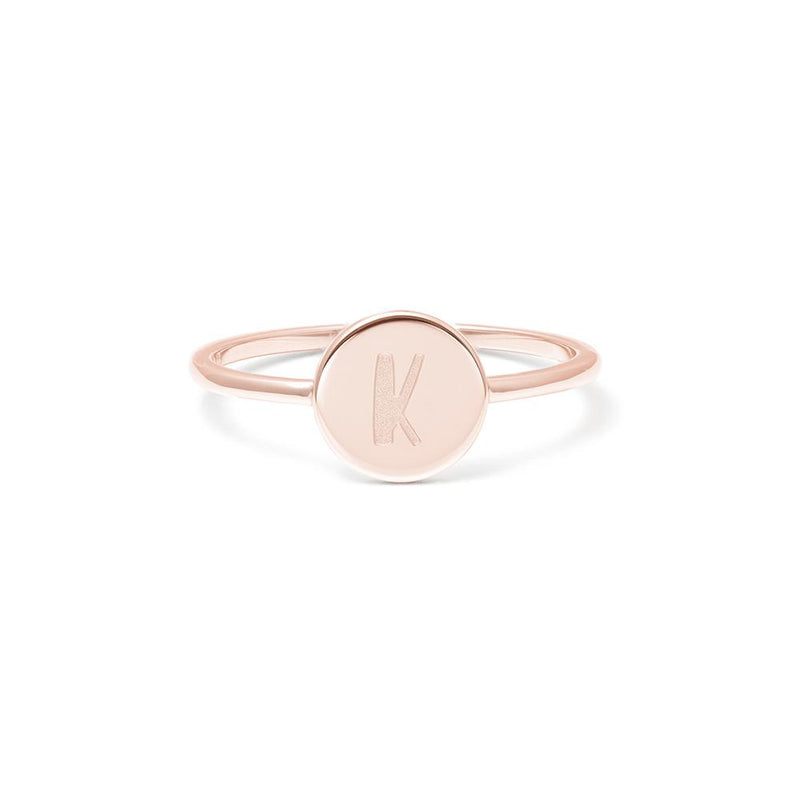 Petite Letter K Ring Jewelry frau-hoelle 925 Silver Rose Gold Plated L - 60 (19.1mm)