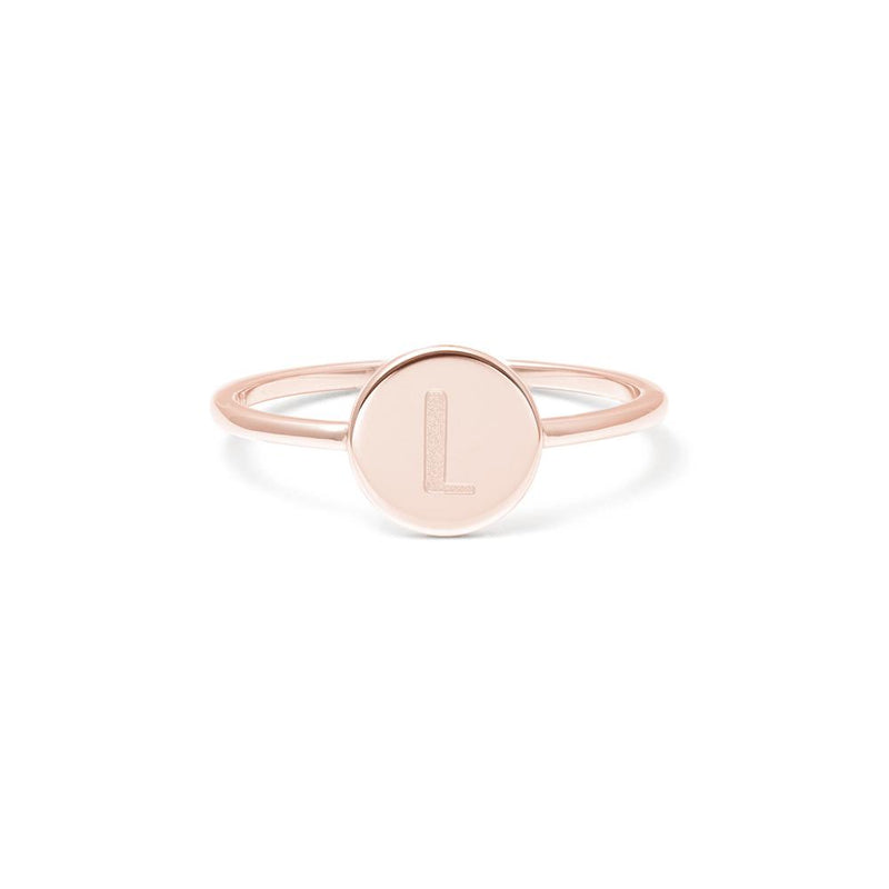 Petite Letter L Ring Jewelry frau-hoelle 925 Silver Rose Gold Plated L - 60 (19.1mm)