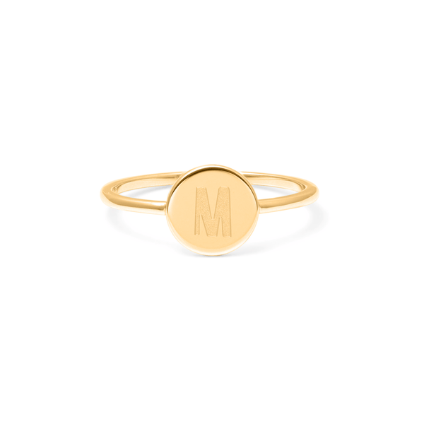 Petite Letter M Ring Jewelry frau-hoelle 925 Silver Gold Plated L - 60 (19.1mm)