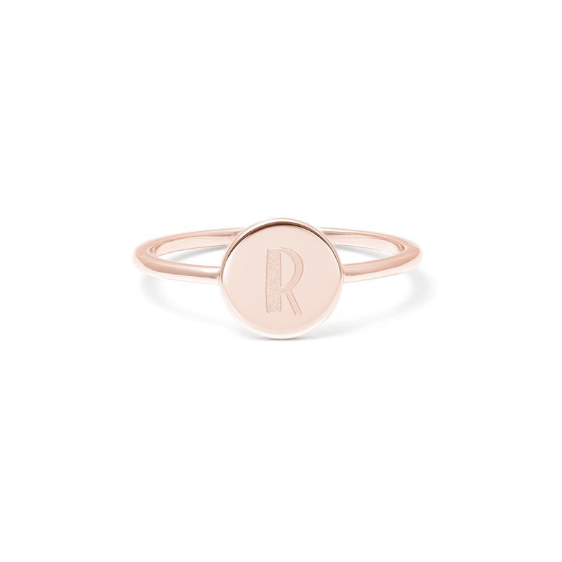 Petite Letter R Ring Jewelry frau-hoelle 925 Silver Rose Gold Plated L - 60 (19.1mm)