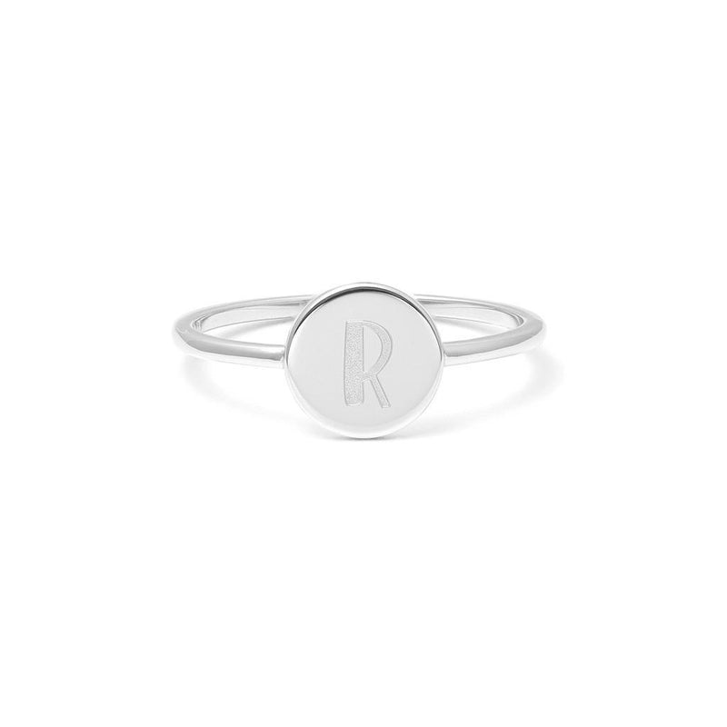 Petite Letter R Ring Jewelry frau-hoelle 925 Silver XS - 49 (15.6mm)