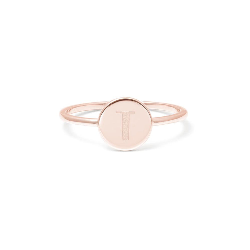 Petite Letter T Ring Jewelry frau-hoelle 925 Silver Rose Gold Plated L - 60 (19.1mm)