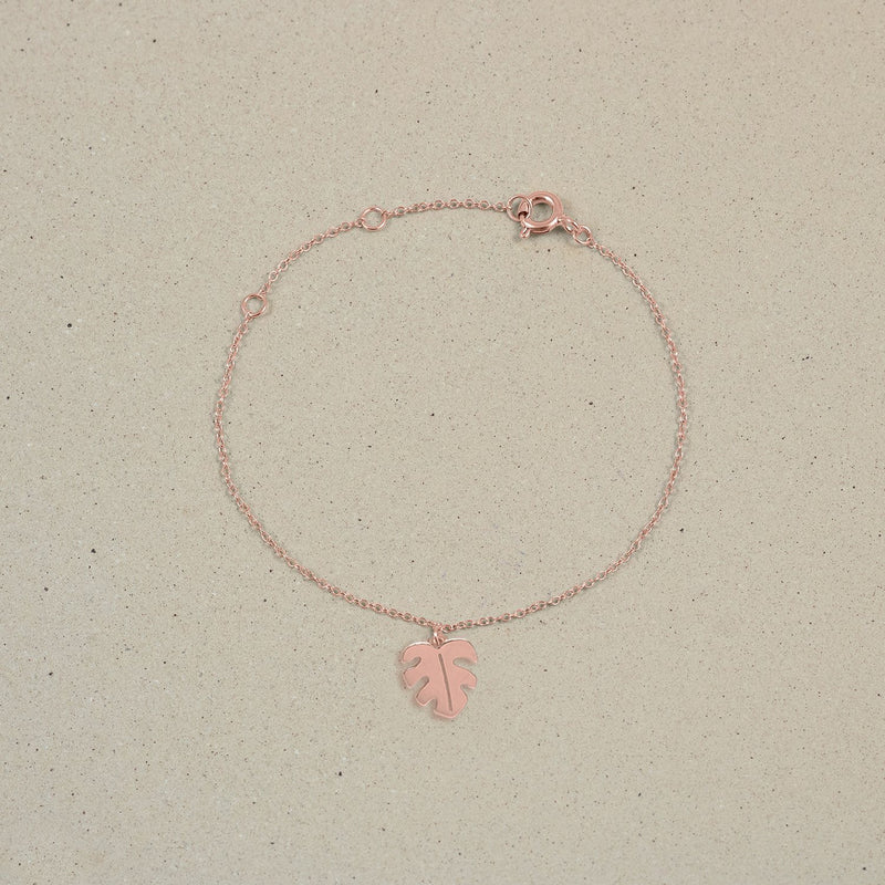 Petite Monstera Charm Bracelet Jewelry Stilnest Rose Gold Vermeil 19cm