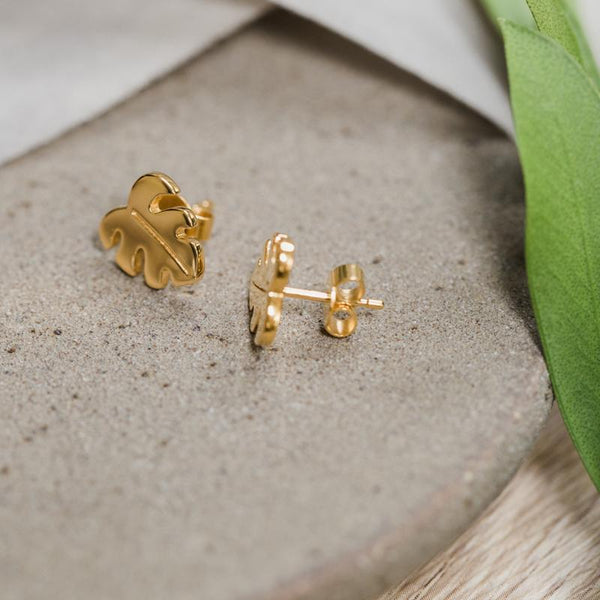 Petite Monstera Charm Stud Earrings Jewelry Stilnest