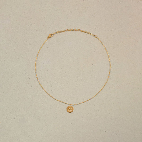 Petite Paw Charm Choker Jewelry Stilnest 24ct Gold Vermeil Anchor Chain/Ankerkette 32+8cm