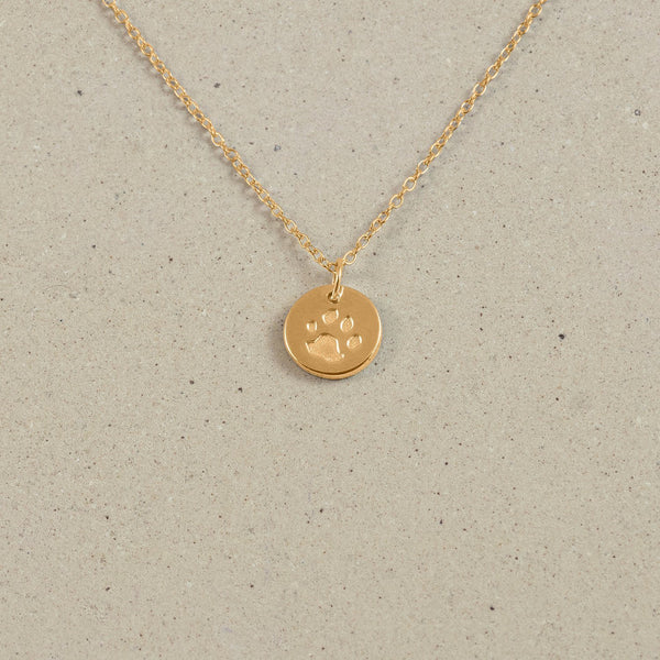 Petite Paw Charm Necklace Jewelry Stilnest 24ct Gold Vermeil Anchor Chain/Ankerkette S (45cm)