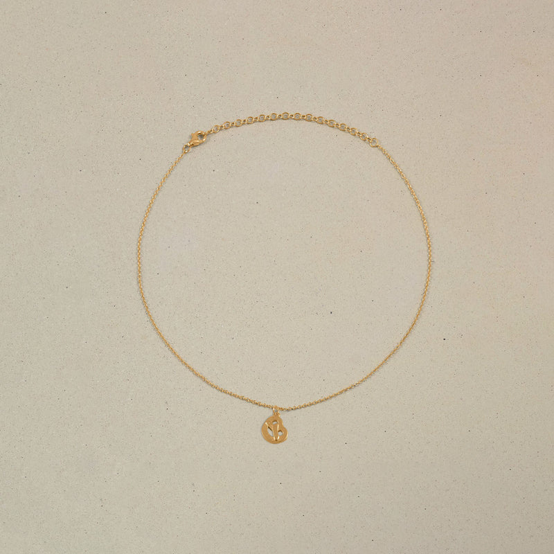 Petite Pretzel Charm Choker Jewelry Stilnest 24ct Gold Vermeil Anchor Chain/Ankerkette 32+8cm