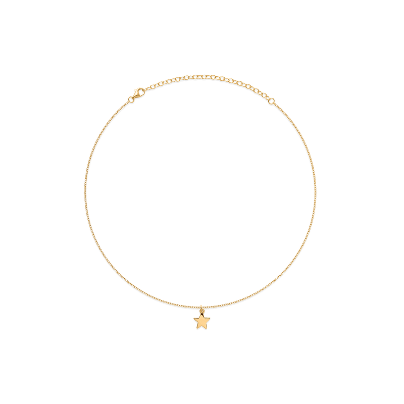Petite Star Charm Choker Jewelry frau-hoelle 925 Silver Gold Plated