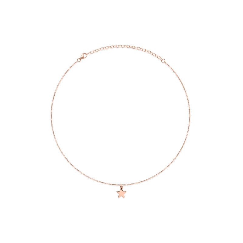 Petite Star Charm Choker Jewelry frau-hoelle 925 Silver Rose Gold Plated