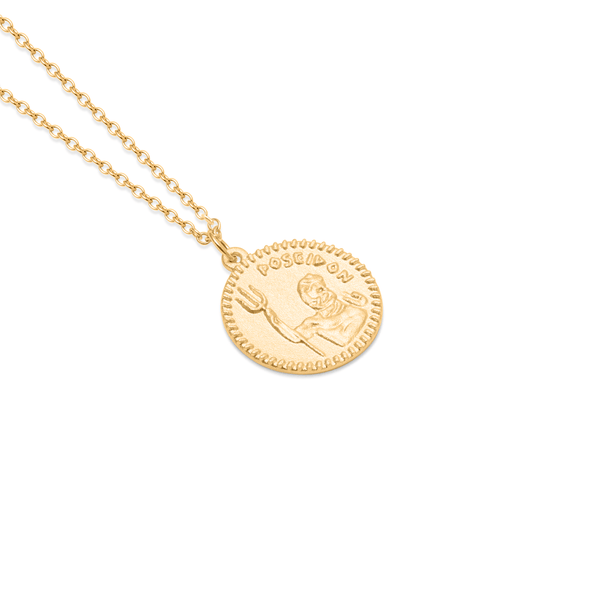 Poseidon Coin Kette Jewelry stilnest 925 Silver Gold Plated S (45cm)