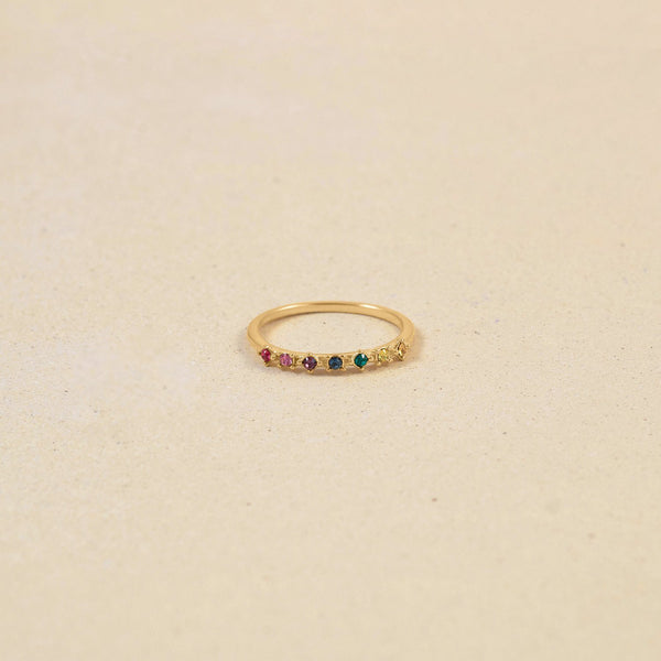 Rainbow Delight Ring Nr.1 Jewelry Stilnest 24ct Gold Vermeil XS - 49 (15.6mm) Farbe
