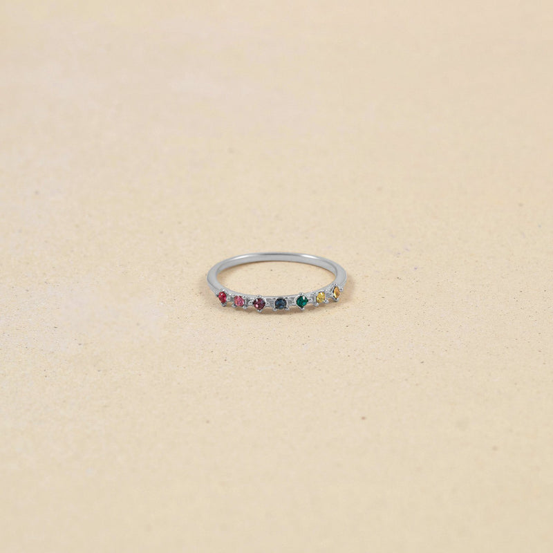 Rainbow Delight Ring Nr.1 Jewelry Stilnest 925 Silver XS - 49 (15.6mm) Farbe