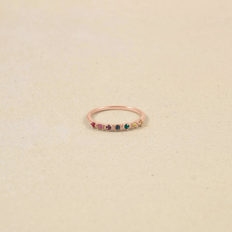 Rainbow Delight Ring Nr.1 Jewelry Stilnest Rose Gold Vermeil S - 52 (16.6mm) Farbe