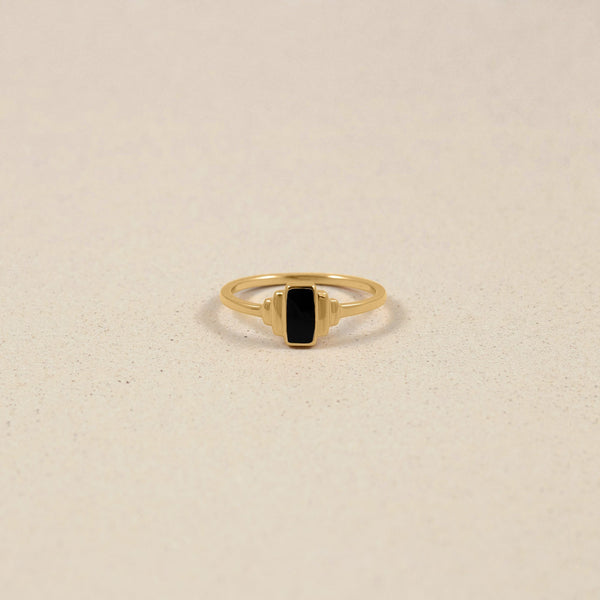 Retro Enamel Ring Jewelry stilnest 24ct Gold Vermeil XS - 49 (15.6mm)