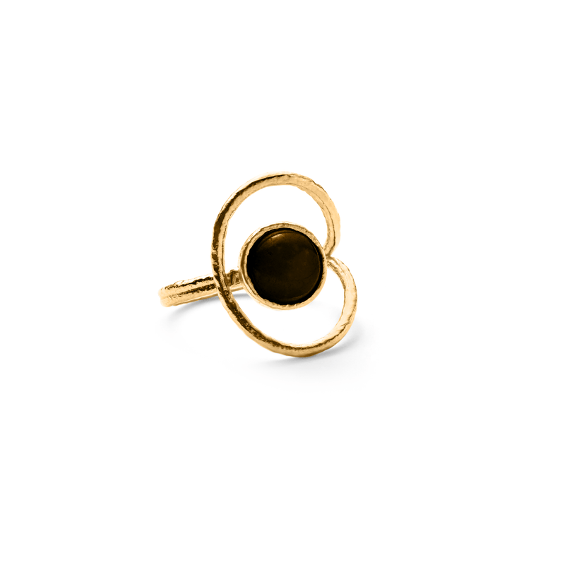 San Pedro Ring mit Onyx Jewelry nilam-farooq 925 Silver Gold Plated S - 52 (16.6mm)