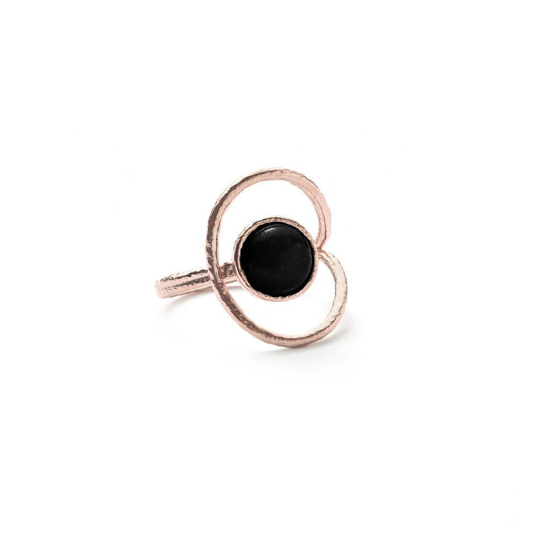 San Pedro Ring mit Onyx Jewelry nilam-farooq 925 Silver Rose Gold Plated XS - 49 (15.6mm)
