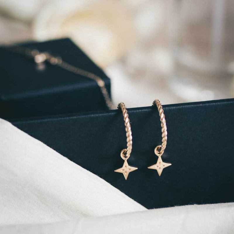 Shooting Star Pendant Set + Dune Hoops - Solid Gold Jewelry useless